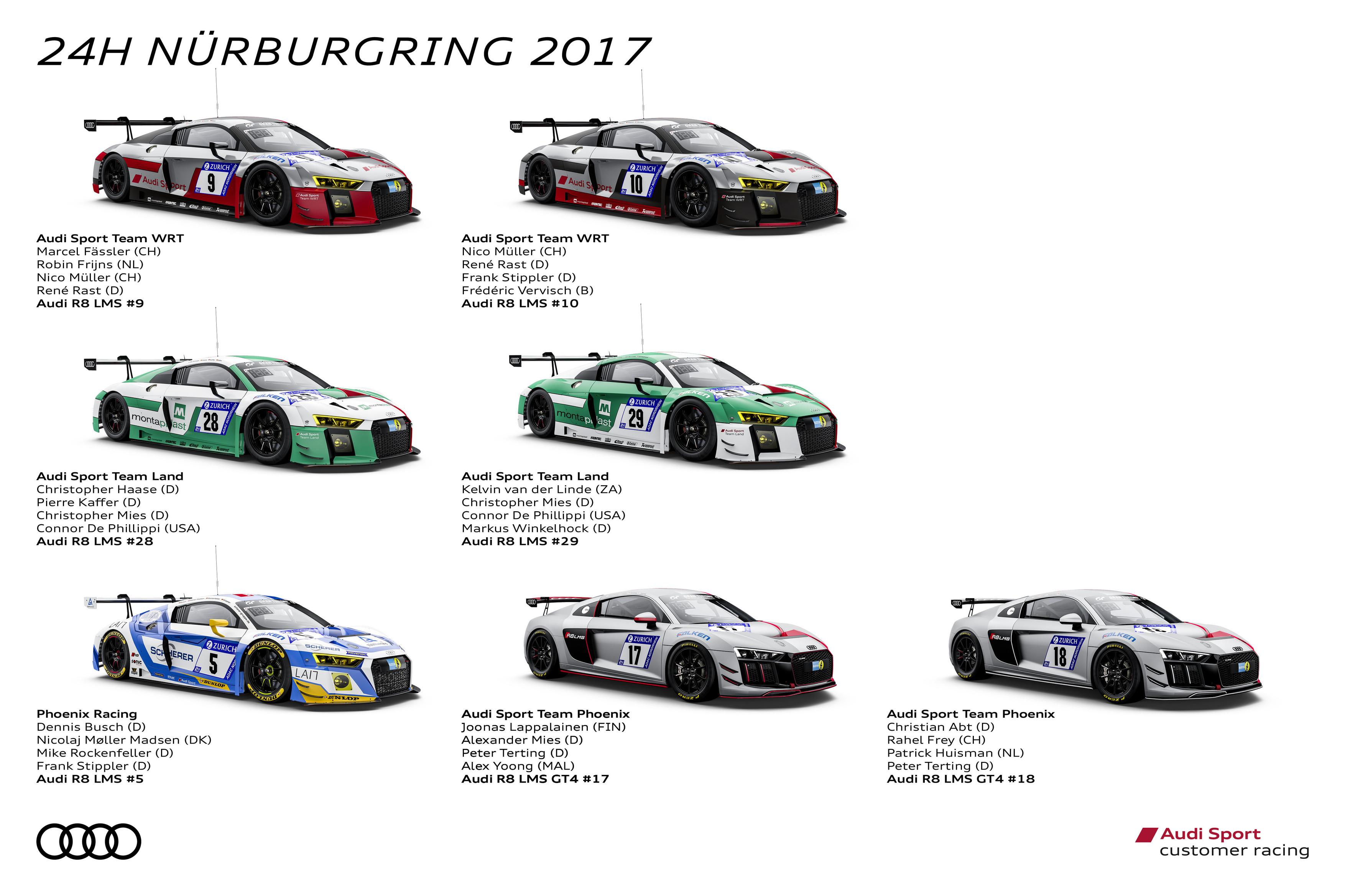 アウディ、史上最多のエントリーでニュルブルクリンク24時間耐久レースに参戦
