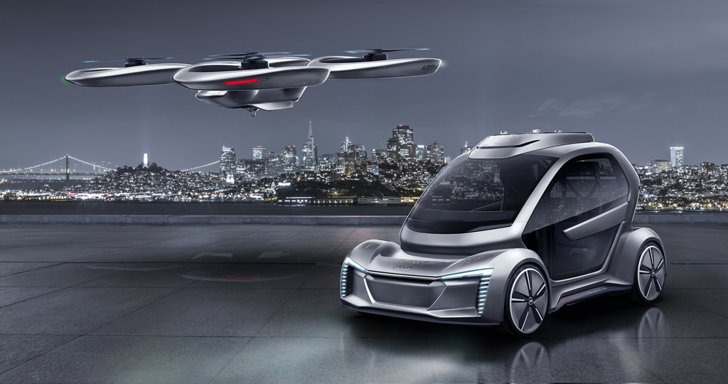 アウディ、イタルデザイン、エアバスが、ジュネーブモーターショーで、自動運転車両とパッセンジャー ドローンの組み合わせを提案